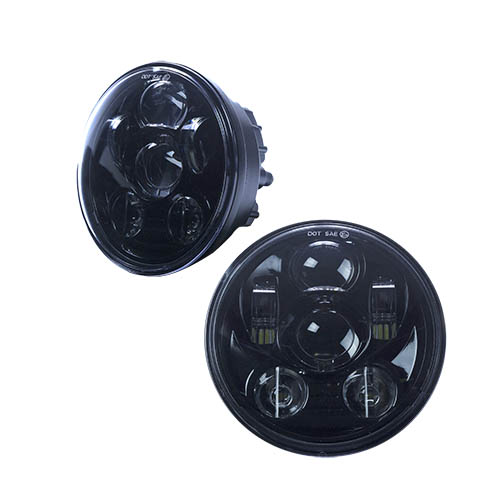 Heise HE-BHL562 5.6 inch motorcycle LED headlight, with black front face. Part of the Cree XB-D Series LEDs.
